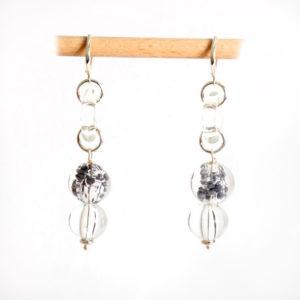 boucles d'oreilles en verre soufflé crystal et gris