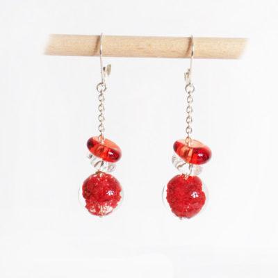 boucles d'oreilles en verre soufflé rouges