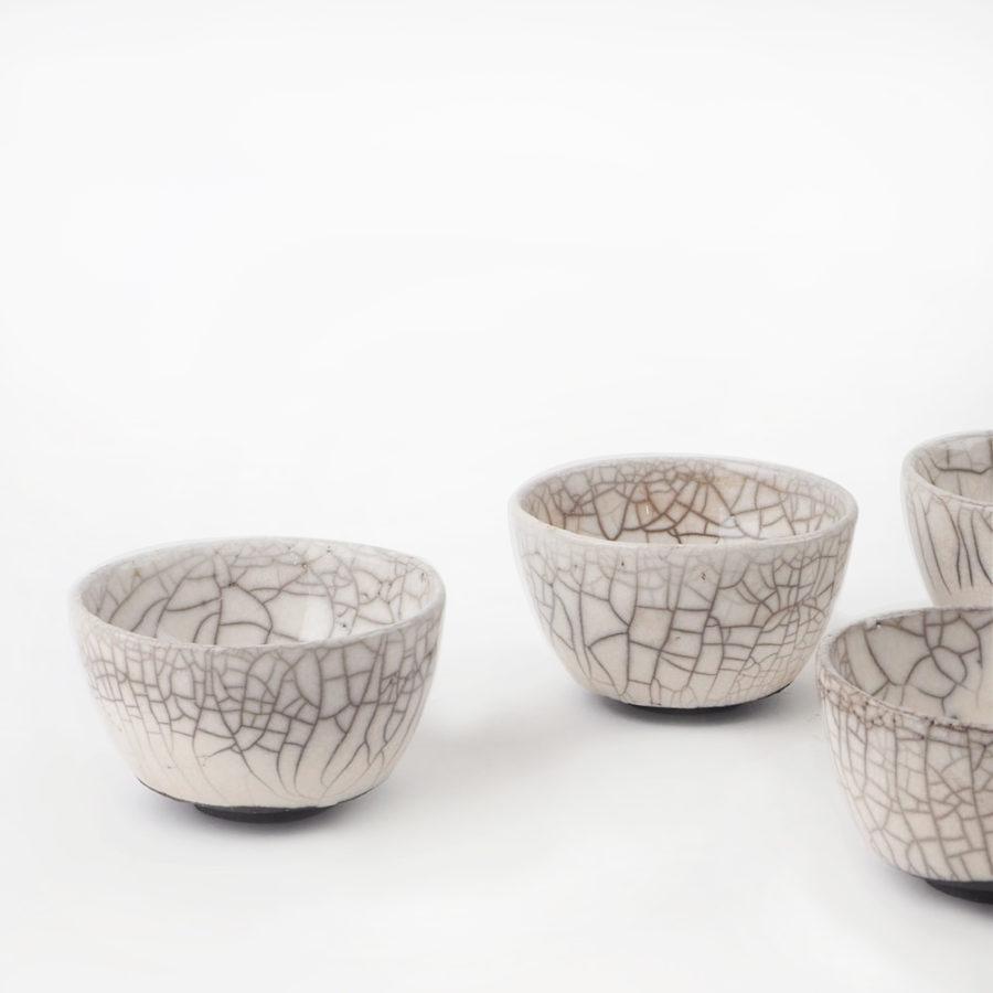 lot de 4 tasses en céramique raku collection fuji