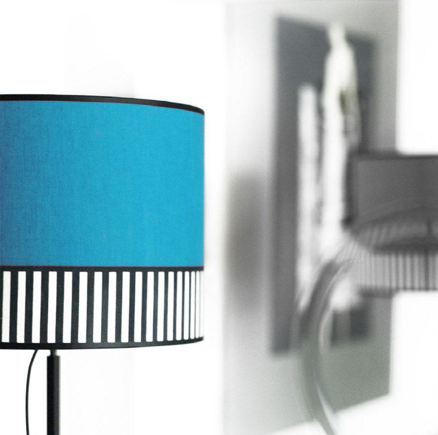 abat-jour tissu lampion bleu