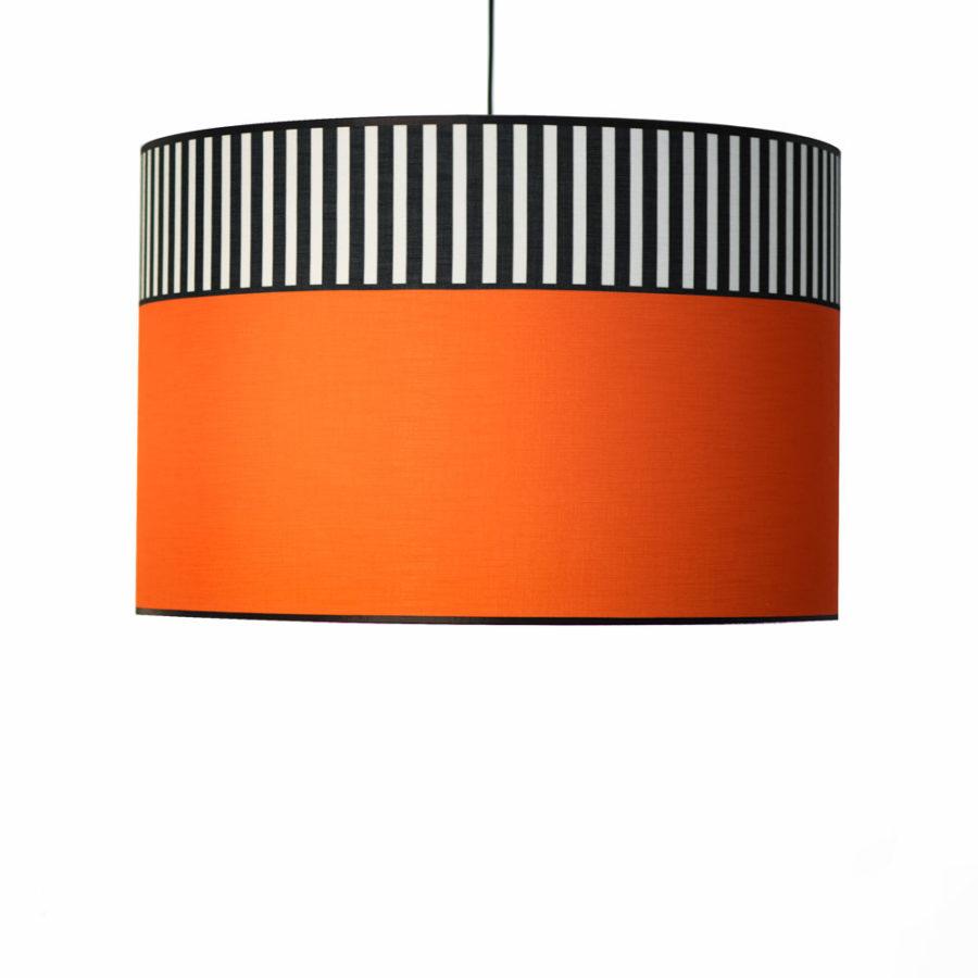 abat-jour tissu lampion orange suspension