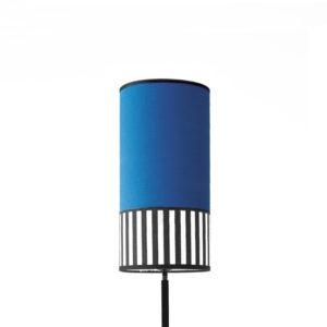 abat-jour en tissu bleu indigo au format tube