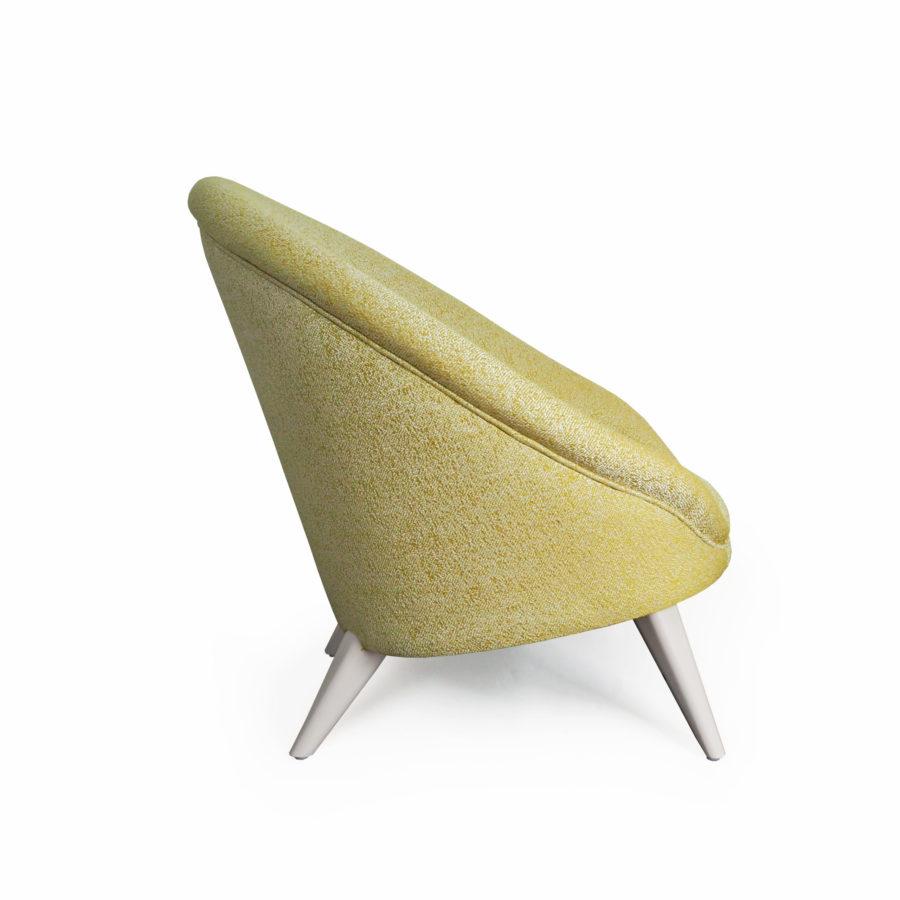 fauteuil kiwi Alga de couleur jaune pale vue de coté