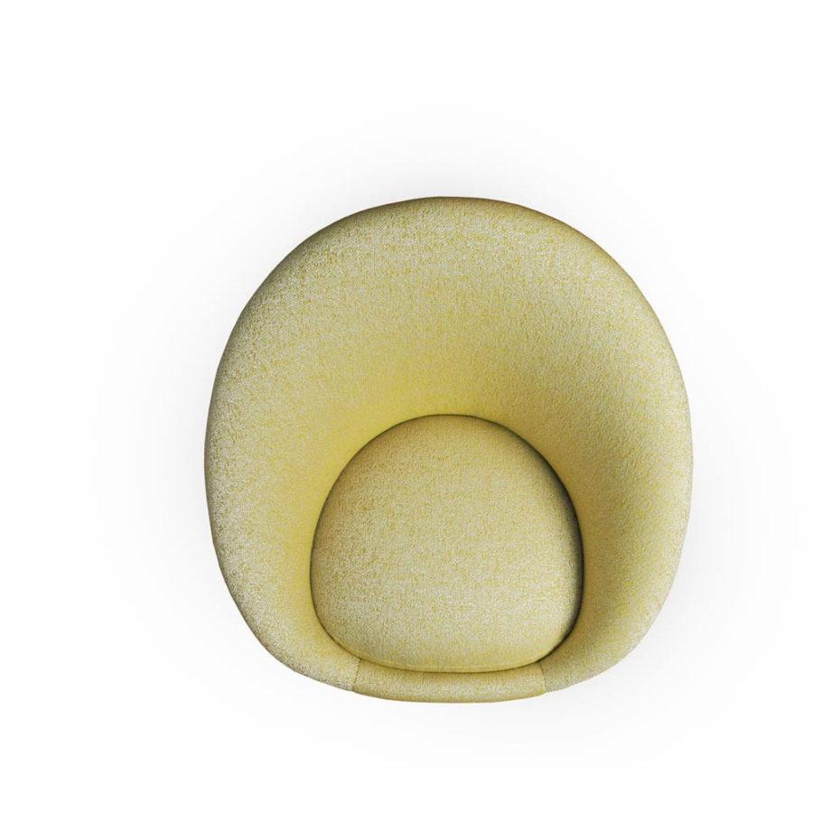 fauteuil kiwi Alga de couleur jaune pale vue de dessus