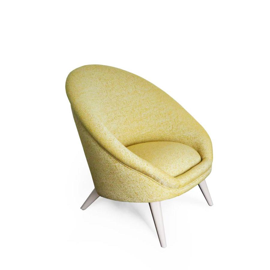 fauteuil kiwi jaune pale vue profil
