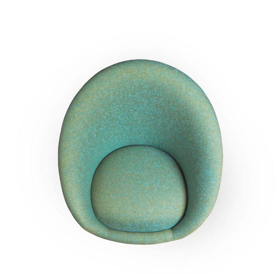 fauteuil kiwi vert clair vue dessus