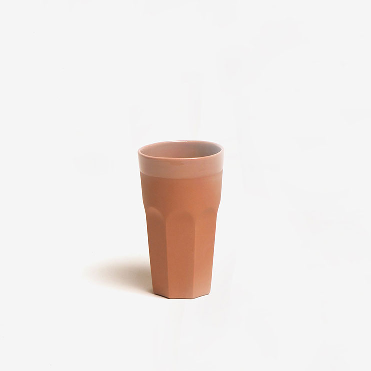 timbale en porcelaine COL couleur tomette